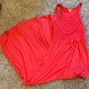 Dillard's Gianni Bini Coral Crochet Maxi Dress